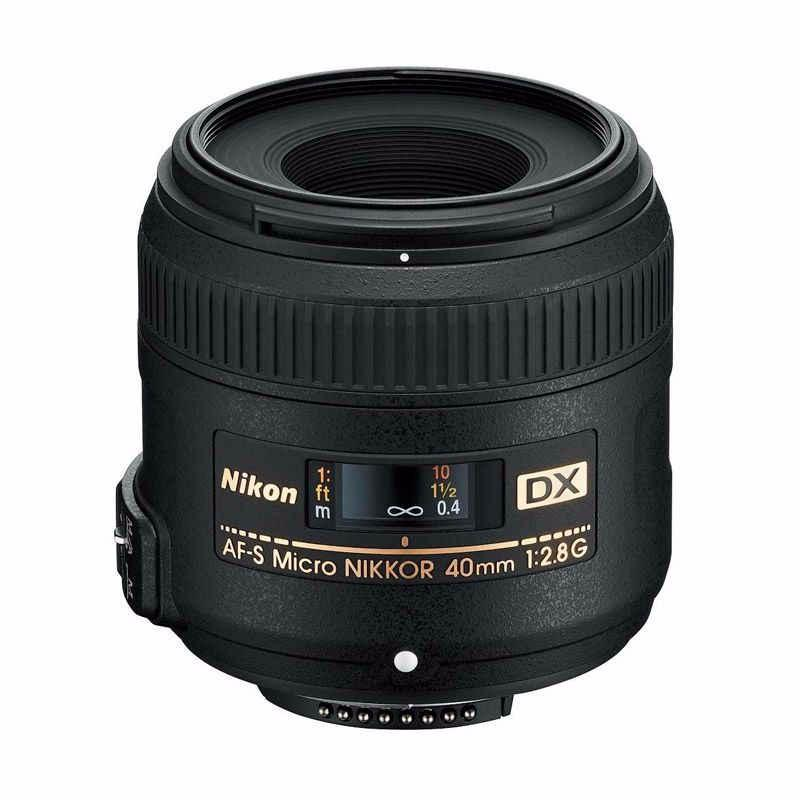 nikon af-s 40mm f2.8g dx micro lensa kamera hitam