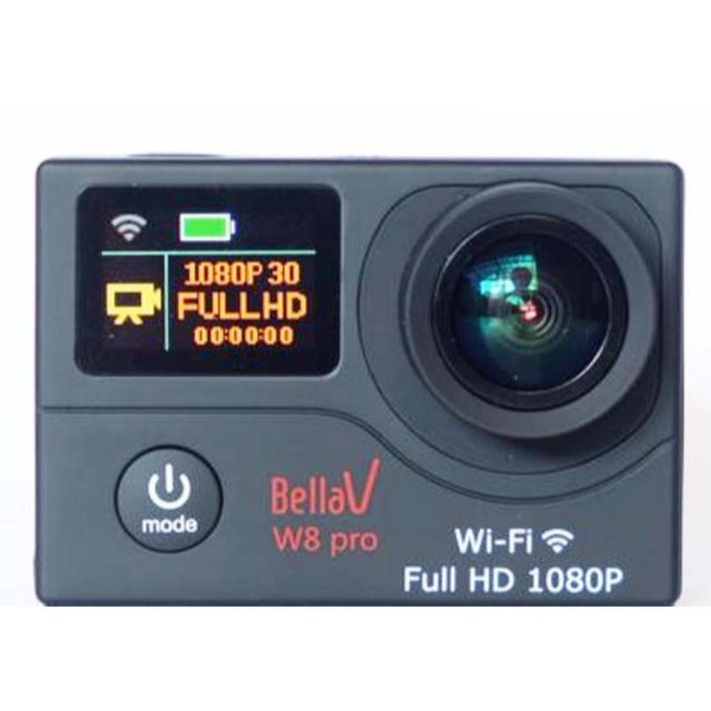 bellavision actioncam bv-w8 pro wifi dual layar display 12mp black