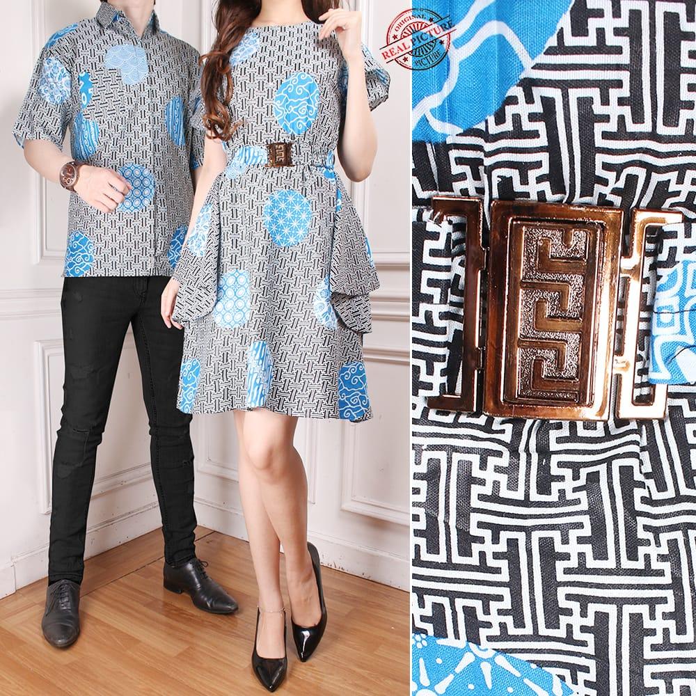Couple Batik Dress Midi Dhima dan Kemeja - Biru